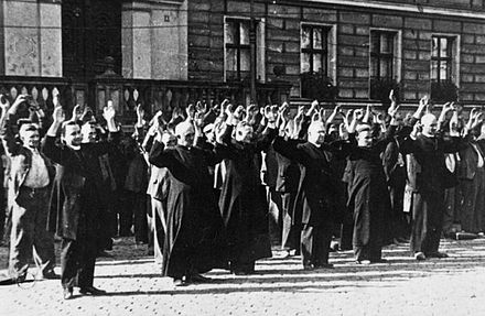 Public execution of Polish priests and civilians in Bydgoszcz's Old Market Square on 9 September 1939. Bydgoszcz 1939 Polish priests and civilians at the Old Market.jpg