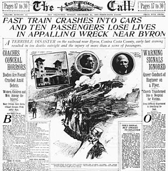 Byron, California - The San Francisco Call reporting the Byron Train Disaster, December 1902