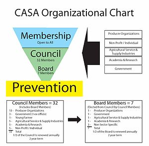 Canadian Agricultural Safety Association - CASA is led by a seven-person Board of Directors elected for three-year terms by the 32 member Council. The Board elects its Executive annually.