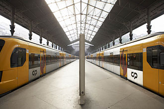 Comboios de Portugal - CP suburban trains at São Bento Station in Porto.