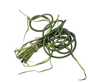Scape (botany) - A bundle of garlic scapes