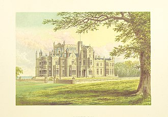 Allerton Castle - 1868 view of Allerton Castle, from The County Seats of the Noblemen and Gentlemen of Great Britain and Ireland by Francis Orpen Morris.