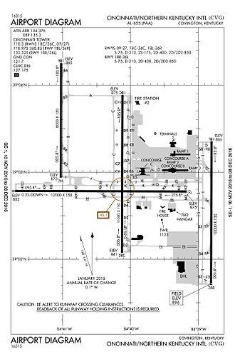 Cincinnati/Northern Kentucky International Airport - CVG Airfield Layout Diagram (2016 - FAA)