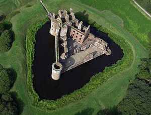 Scottish castles - Caerlaverock Castle, a moated triangular castle, first built in the thirteenth century