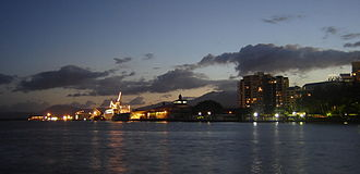 Cairns - Cairns at night; the wharves. The casino's dome can be seen in the background.