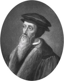 Black and white engraving of a bearded man in Sixteenth Century costume facing left