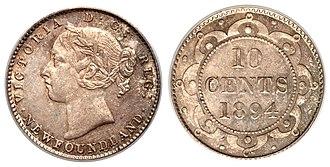 Coins of the Newfoundland dollar - Image: Canada Newfoundland Victoria 10 Cents 1894