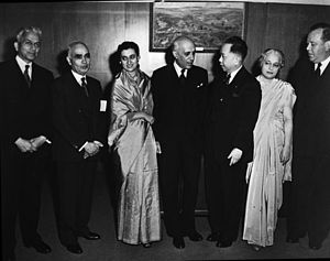 Carlos P. Romulo - Gen. Romulo (3d from R), as President of the United Nations General Assembly, talks with Prime Minister Jawaharlal Nehru