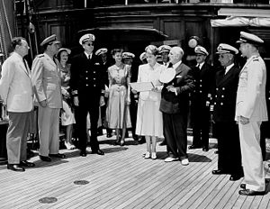Carlton Skinner - Skinner aboard the USCGC Sea Cloud during a ceremony.