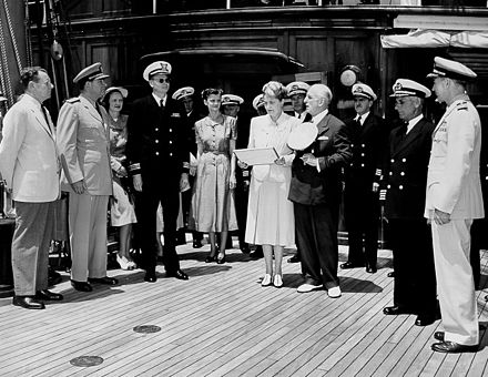 Marjorie Merriweather Post and her husband Ambassador Joseph E. Davies (center) with Carlton Skinner at a presentation of a Naval Reserve Pennant. Carlton Skinner aboard the Sea Cloud.jpg