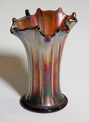 A carnival glass vase.