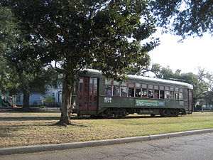 Carrollton Avenue - Streetcar running on the Riverbend end of Carrollton Avenue in the Old Carrollton neighborhood.