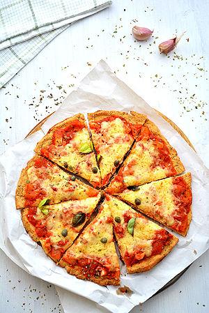 Cauliflower crust pizza slices