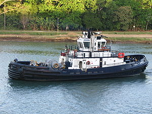English: The Cecil F. Haynes is a tugboat belo...