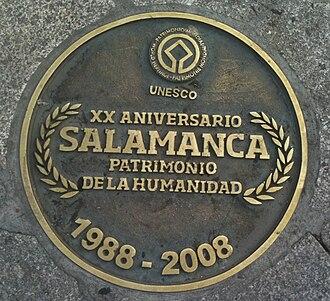 Plaza Mayor, Salamanca - Image: Center of the plaza mayor salamanca