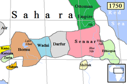 Sultanate of Sennar (in pink) and surrounding states in 1750
