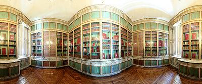 Château de Versailles, petit appartement de la reine, 1er étage, bibliothèque, pano