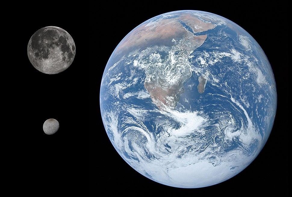 Charon, Earth %26 Moon size comparison