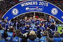 Chelsea Players Celebrating Winning The Capital One Cup