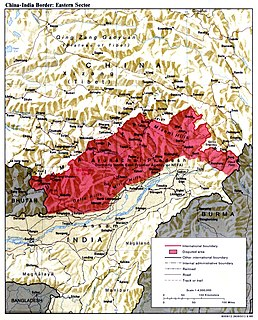The demarcation line between the Tibetan region of China and North-east India