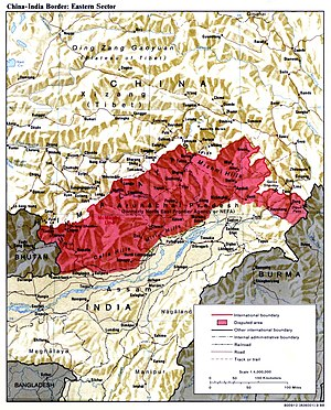 McMahon Line - The McMahon Line forms the northern boundary of Arunachal Pradesh (shown in red) in the eastern Himalayas administered by India but claimed by China. The area was the focus of the 1962 Sino-Indian War.