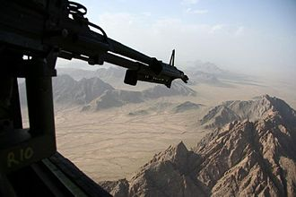 Helmand province campaign - View from a Chinook helicopter over Kajaki district.