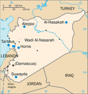 Eastern Orthodoxy in Syria - Map of places in Syria with significant Christian populations.