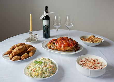 Christmas table is often made with roasted pork and Russian salad Christmas table (Serbian cuisine).jpg