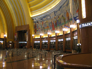 Cincinnati Museum Center at Union Terminal - View of one mural in the rotunda of the Cincinnati Museum Center