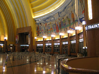 Cincinnati Museum Center at Union Terminal - View of one mural in the rotunda of the Cincinnati Museum Center