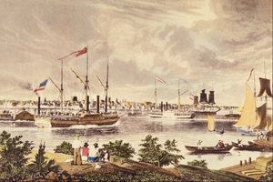 William James Bennett - City of Detroit, Michigan. Taken from the Canada Shore near the Ferry, after a sketch by Frederick Grain, published by Henry J. Megarey, New York, 1837.