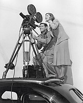 Loy with Clark Gable on the set of Too Hot to Handle, 1938