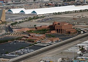 Clark County, Nevada - Clark County Government Center in Las Vegas with the World Market Center temporary buildings in background