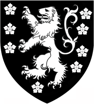 Katherine Clifton, 2nd Baroness Clifton - Arms of Clifton of Clifton, Nottinghamshire (Baron Clifton of Leighton Bromswold): Sable semée of cinquefoils and a lion rampant argent