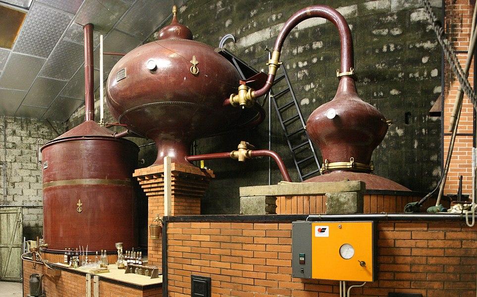 A pot still of Cognac, in Cherves de Cognac, Charente, Poitou-Charentes, France.