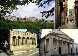 Quattro scorci: (da sinistra a destra) veduta del centro da sotto il colle, veduta del campanile della cattedrale, la Fontana Fraterna e facciata del Duomo di Isernia