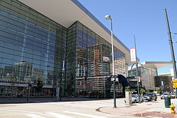 Exterior of the Colorado Convention Center, viewed from the intersection of 14th and Welton