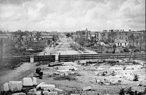 Columbia, South Carolina - Ruins, as seen from the State House, 1865