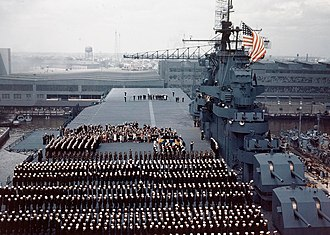 USS Yorktown (CV-10) - Commissioning of USS Yorktown on 15 April 1943.