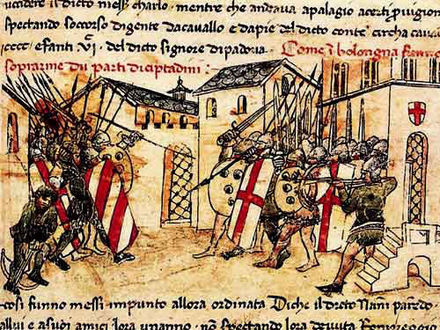 Depiction of a 14th-century fight between the Guelf and Ghibelline factions in Bologna, from the Croniche of Giovanni Sercambi of Lucca. Communal fight in Bologna (Sercambi).jpg