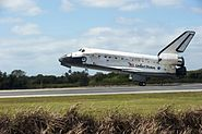 Concluding the STS-133 mission, Space Shuttle Discovery touches down at the Shuttle Landing Facility