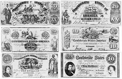 Six Confederate notes