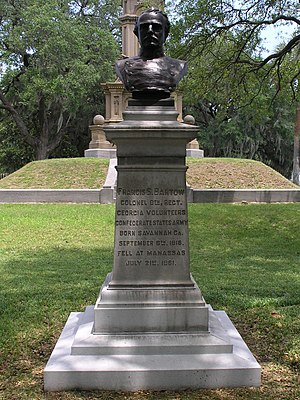 Francis S. Bartow - Memorial and bust of Francis S. Bartow in Savannah's Forsyth Park.