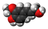 Space-filling model of the coniferyl alcohol molecule