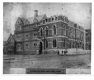 Working Men's College, Melbourne - Image: Construction Working Mens College Melbourne