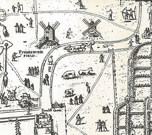 "Finsbury Square - Finsbury Fields on the ""Copperplate"" map of London of the 1550s"