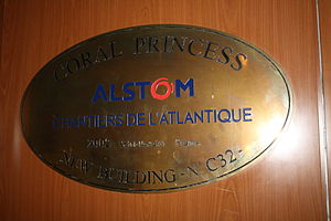 Chantiers de l'Atlantique - A plaque inside the Coral Princess