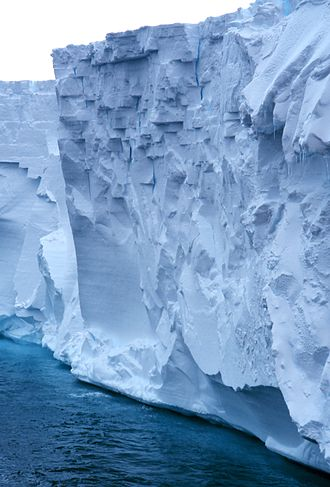 Sea level rise - Close-up of Ross Ice Shelf, the largest ice shelf of Antarctica, about the size of France and up to several hundred metres thick.