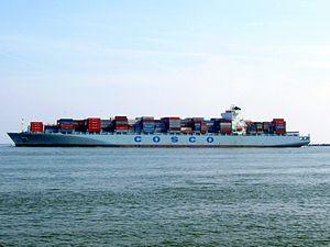 Cosco China IMO 9305465 p7, leaving Port of Rotterdam, Holland 03-May-2008.jpg