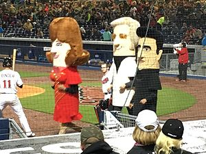 Mascot race - The Nashville Sounds' racing country music legends